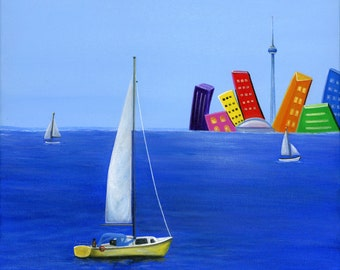 Hilly Hurry Less Giclée Archival Print - Paper or Canvas - Sailboats on the waterfront with Toronto Cityscape in background - Various Sizes
