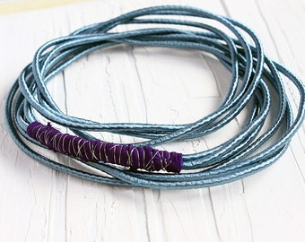 Siver blue cord necklace, fabric spring necklace,  blue fabric necklace, simple necklace, silk necklace, rope necklace