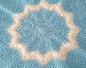 Hand crocheted soft blue and white star baby blanket, baby afghan, newborn baby shower gift