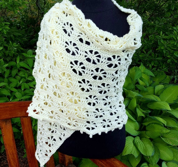 Hand crocheted ivory cream openwork shawl-READY TO SHIP