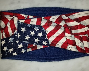 Waist 11.75 x Width 3.75 inches Male Dog Belly Band Wraps by Sew Dog Diapers Quilted Padded Belt BellyBand # 922 USA FLAGS