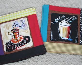 Set of 2 Coffee Mug Rugs/Coasters