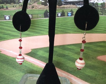 """2""""  Drop Red and White Baseball Sports Earrings"""
