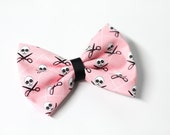 Pink Skull and Scissor Crossbones Fabric Hair Bow Clip ON SALE