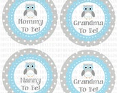 Mommy Grandma Daddy owl themed digital stickers - Print on your own