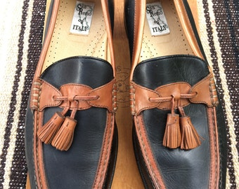 12M Brown and black loafers