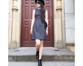 Elegant Sleeveless Winter Wool Dress with Belt/ 2 Colors/ RAMIES