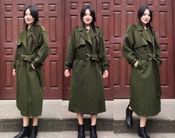 Military Style Coat/ Double- Faced Cashmere and Wool Blend Long Jacket with Belt / Wide-lapel Trench Coat/Winter Coat /7 Colors