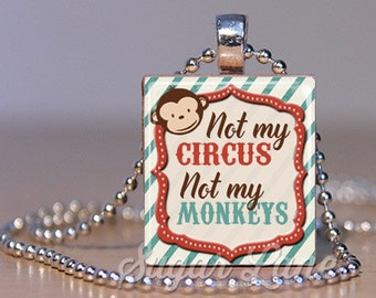Not My Circus Not My Monkeys Necklace (NMCA3 - Red, Blue) - Scrabble Tile Pendant Necklace with Chain