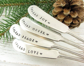 Stamped Butter Spreaders. Vintage Cheese Knives. Spread Love. Spread Cheer. Spread Peace. Spread Joy. Hostess Gift for Holiday Table. 083HOL