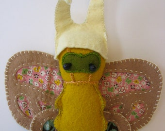 Wee Wonderfuls Wool Felt Butterfly Plush Stuffie - Hand Sewn