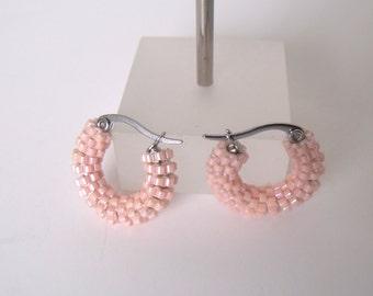 Small pink hoop earrings | woven pink beaded jewelry | pink beaded earrings | glass beaded hoop earrings