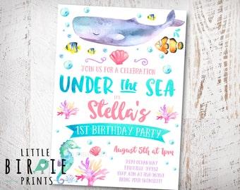 Under the sea invitation Girl Pink Under the sea birthday party invitation Ocean Birthday Pool Party Birthday Invitation Summer Ocean Party