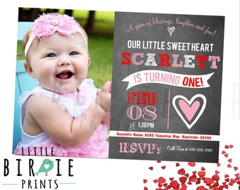 VALENTINE BIRTHDAY INVITATION Sweetheart Chalkboard Invitation Heart Birthday Party First Birthday
