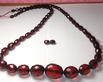 Cherry Amber Faceted Bakelite Beads