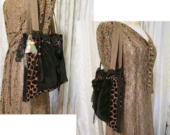 SALE Black Giraffe Bag, velvet chenille bag, animal print fabric bag, soft thick black bag, embellished handmade womens shoulder bag