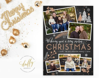 Holiday Photo Card, Christmas Photo Card, Photo Christmas Card, Holiday Card, Christmas Card, Rose Gold Silver Glitter 5x7 Printable