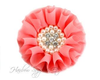 Coral Chiffon Pearl Flowers 3-1/2 inch - Coral Chiffon Trim, Coral Chiffon Flower, Pearl Embellishment, Coral Flowers, Coral Fabric Flowers