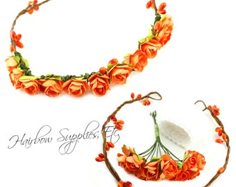 DIY Orange Floral Crown Kit - DIY Orange Flower Crown, Orange Wedding Flower Crown, Orange Floral Halo