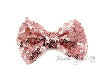Light Pink Sequin Bows Small 3 inch - Sequin Bow Headband, Sequin Bow Tie, Sequin Hair Bow, Sequin Hair Bows, Sequin Baby Bows