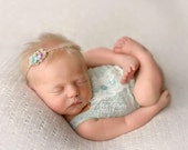 newborn girl lace romper (Ellie) - photography prop - cream, mint, seafoam, light green, lace