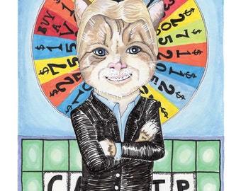 Wheel Of Fortune Cat Sajak 8 x 10 inch Giclee Print // Television Art // Spring Summer Birthday Gift // Funny
