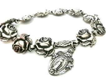 Vintage Sterling Silver Saints Bracelet
