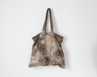 natural walnut dye cotton denim market bag with tree and inner pocket
