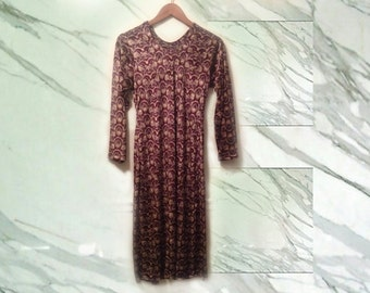 90s Grunge Stretch Velvet Burgundy Paisley Print Long Sleeve Dress with High Side Slits Unisex Chemise size Medium