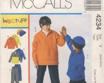 McCall's 4234 Kids Stuff Boy's Jacket, Top, Pants and Hat Sizes XSmall (3 -4) Small (5-6)