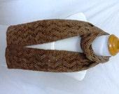 light brown mocha wool silk scarf