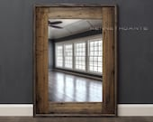 Reclaimed Wood Mirror Bathroom Mirror Rustic Medium Browns Weathered Wood Distressed Salvage 32 X 24