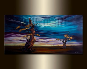HUGE oversized Original Modern abstract Tree Art Canvas Oil Painting 30X60 by Willson Lau