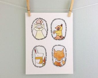 Woodland Animal Portraits Illustration Cute Print Owl Hedgehog Fox Bunny Rabbit Chipmunk Woodland Nursery Art Children's Wall Art Baby Gift