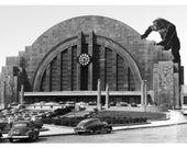 Cincinnati Art, Gorilla Art, Cincinnati Print, King Kong, Alternate Histories, Black and white, vintage photo, geekery, Union Terminal