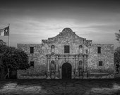 The Alamo Mission in Black and White or Sepia Tone in San Antonio Texas with the Lonestar Flag Flying No.BW0256 A Historical Photograph