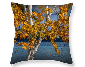 White Birch Tree in Autumn along the shore of Crystal Lake by Frankfort Michigan No.9190 novelty throw pillow Home Décor cushion cover