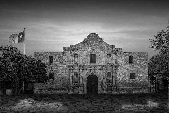 The Alamo Mission In Black And White Or Sepia Tone In San