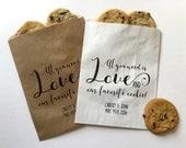 Wedding Favor Bag, Wedding Goody Bag, Wedding Treat Bag, Cookie Favor Bag, Cookie Favor, Favorite Cookie Bag, Printed Treat Bag, Kraft Bag
