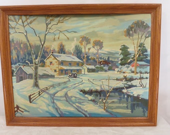 Vintage Paint by Numbers; Winter Cabin