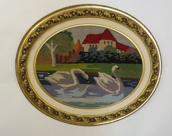 Vintage Needlepoint Scenic with Swans Oval Gold Frame