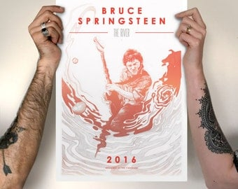 Bruce Springsteen Print // Available as A4 or A3 - The River Tour - Gig Poster - Band Posters - Illustrated Print - Band Poster Print