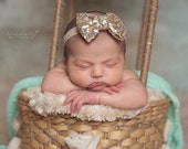 Gold Sequin Bow Headband, Sparkle Bow Headband, Gold Bow Headband, Baby Headbands, Newborn Girls Photo Prop