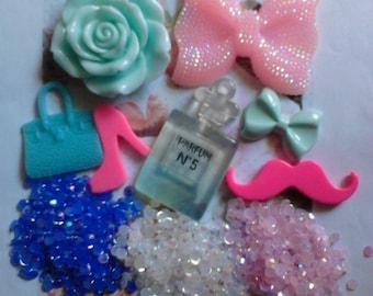 Kawaii girly cabochon decoden phone deco diy big pink bow charm kit  # 408---USA seller