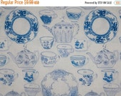 ON SALE Charming Tea Party China Print Pure Cotton Fabric in Blue and White--One Yard