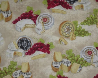 SPECIAL--It's Wine O'Clock Wine and Cheese Print Pure Cotton Fabric--BY The Yard