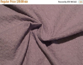 ON SALE Blue Gray Circle Design Pure Cotton Eyelet Fabric--One Yard