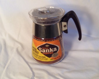 Vintage Sanka Corning Coffee Pot Sealed and Awesome for Display