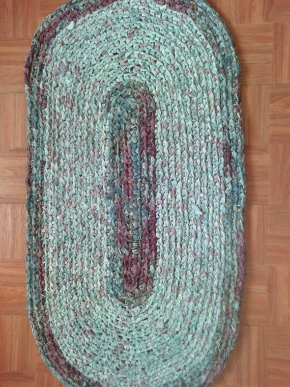 "Hand Crocheted Oval Rag Rug ~ Teal and Burgandy ~ 44"" x 23"" ~ Machine Washable ~ Colonial Rag Rug ~ Rustic Rug ~ Oval Rug ~ Log Cabin rug"