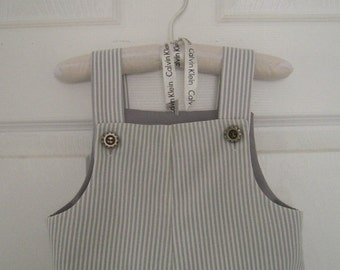 Grey Striped Baby Sunsuit, Baby Boy Summer Shortall, Romper size 12 to 18 mo.  Reclaimed Textiles, Vintage Style